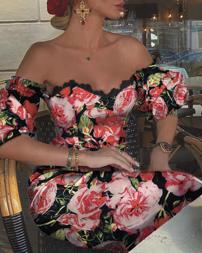 Floral Print Lace Trim Midi Dress