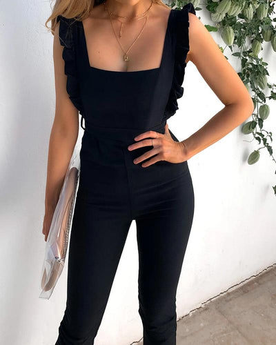 Solid Frill Hem Square Neck Casual Jumpsuit