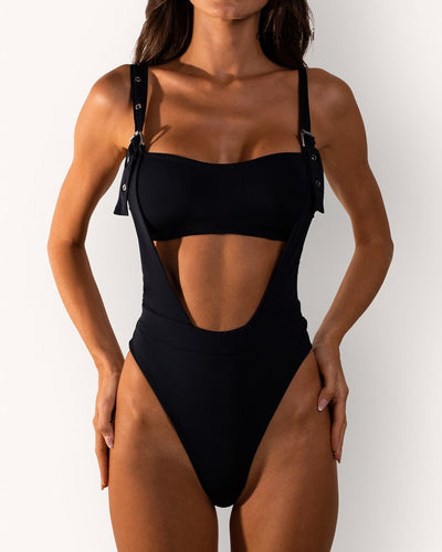 Solid Cutout One Piece Swimwear
