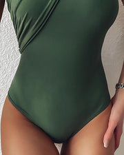 Solid One Shoulder One-piece Swimsuit