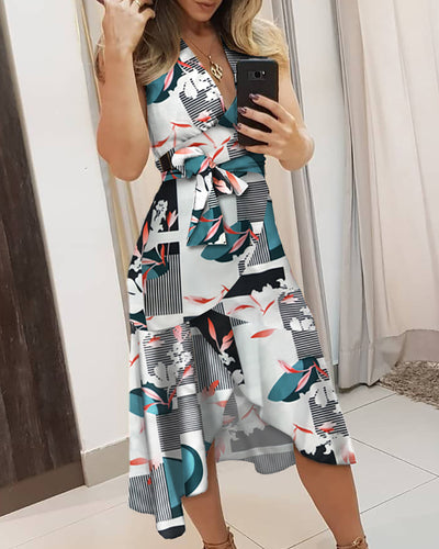 V-neck Print Knotted Irregular Dress