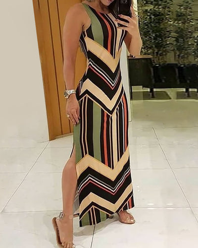 Colorful Striped Print Side Slit Maxi Dress