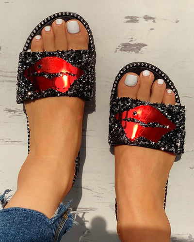 Mouth Studded Design Flat Sandals