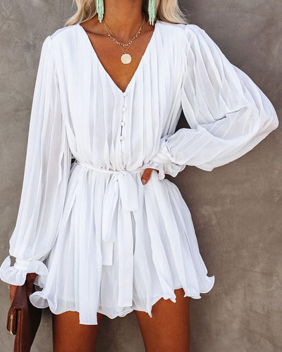 Brief Comfy Pleated Long Sleeve Rompers