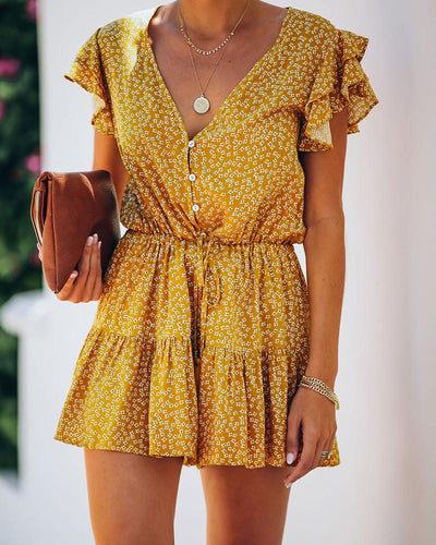 Floral Ruffles Pleated Rompers