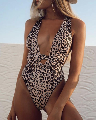 Leopard Print Bnadage One Piece Swimwear