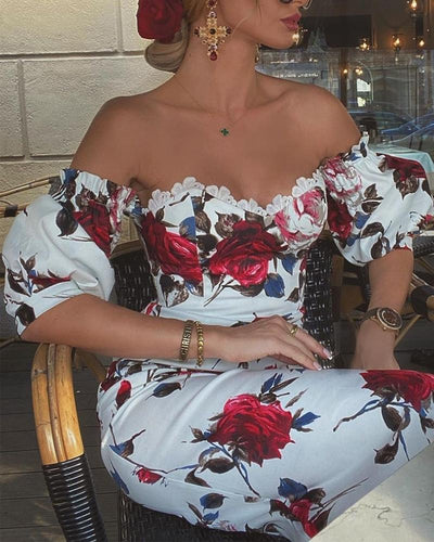 Floral Print Lace Trim Off Shoulder  Dress