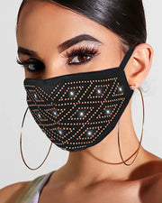 Bling Rhinestone Letter Pattern Face Mask