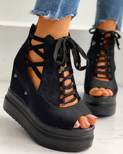 Peep Toe Lace Up Platform Wedges