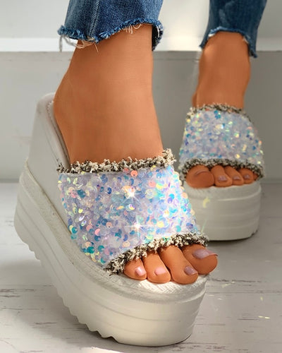 Peep Toe Sequins Fringe Hem Wedge Heeled Sandals