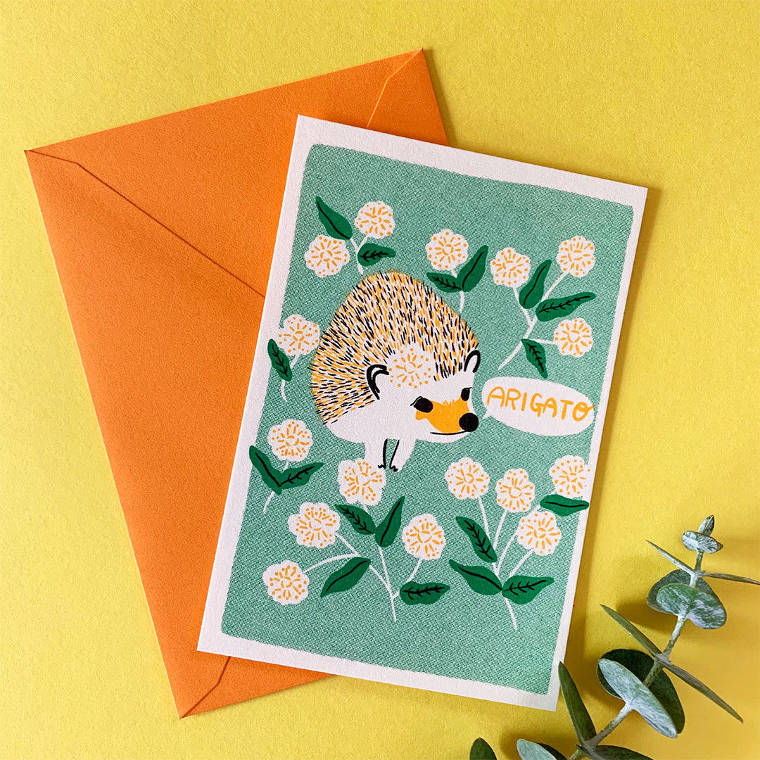 ARIGATO Card - Flower and Hedgehog
