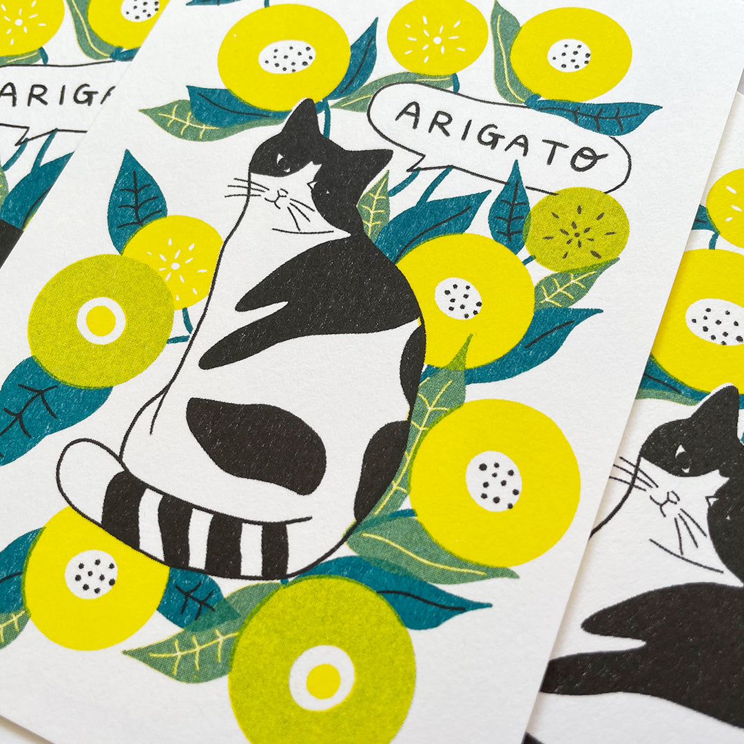 ARIGATO Card - Flower and Cat