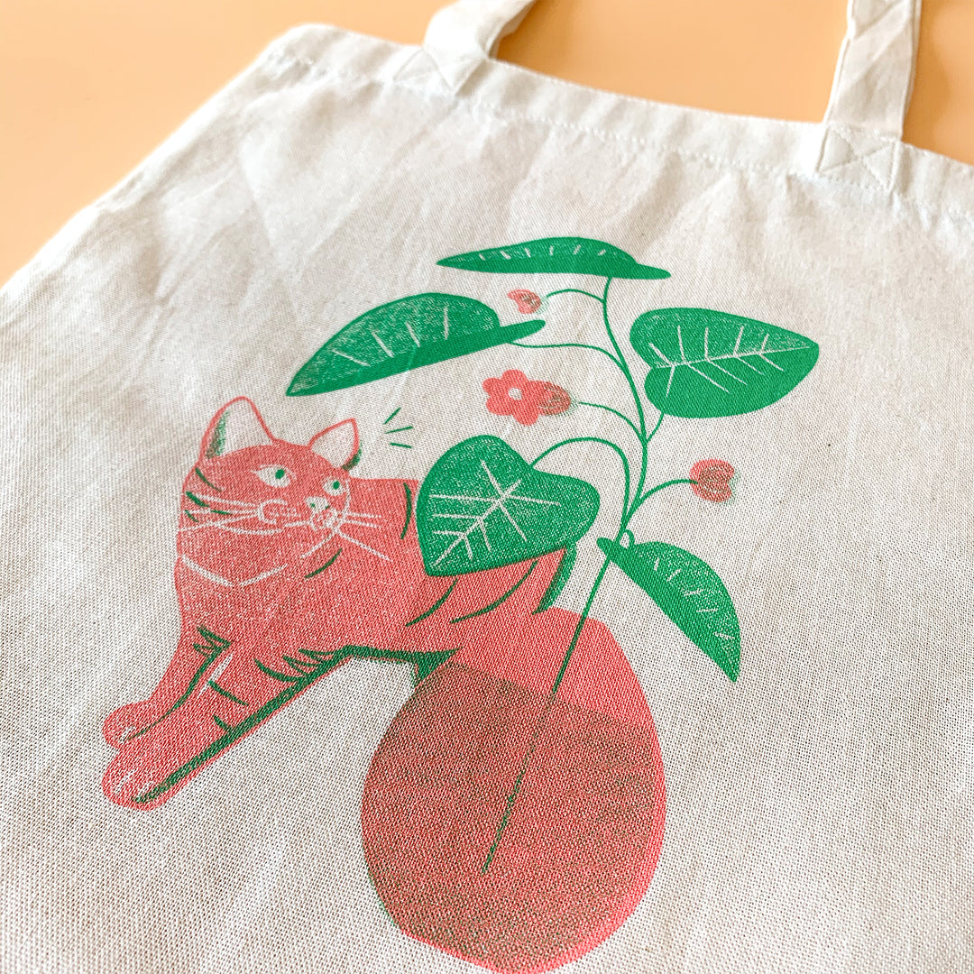 Tote B5 size - Cat and Plants (Coral × Green)