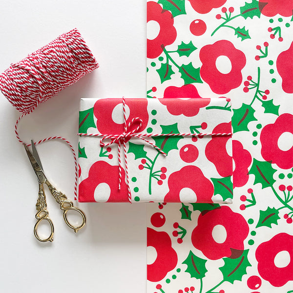 Christmas Wrapping Paper // Flower Illustration Pattern