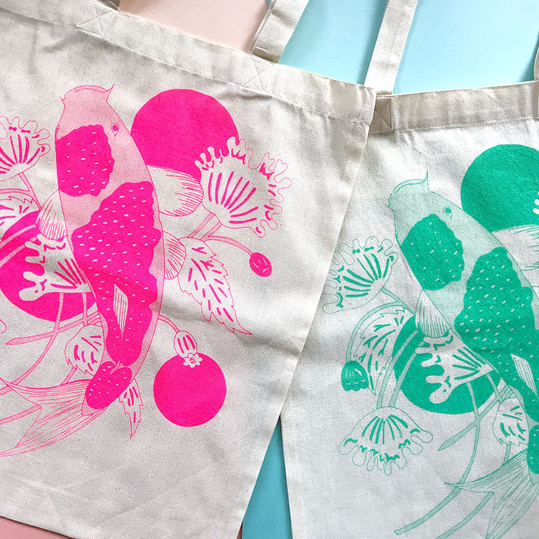Tote A3 size - Japanese Koi Fish (Neon Pink)