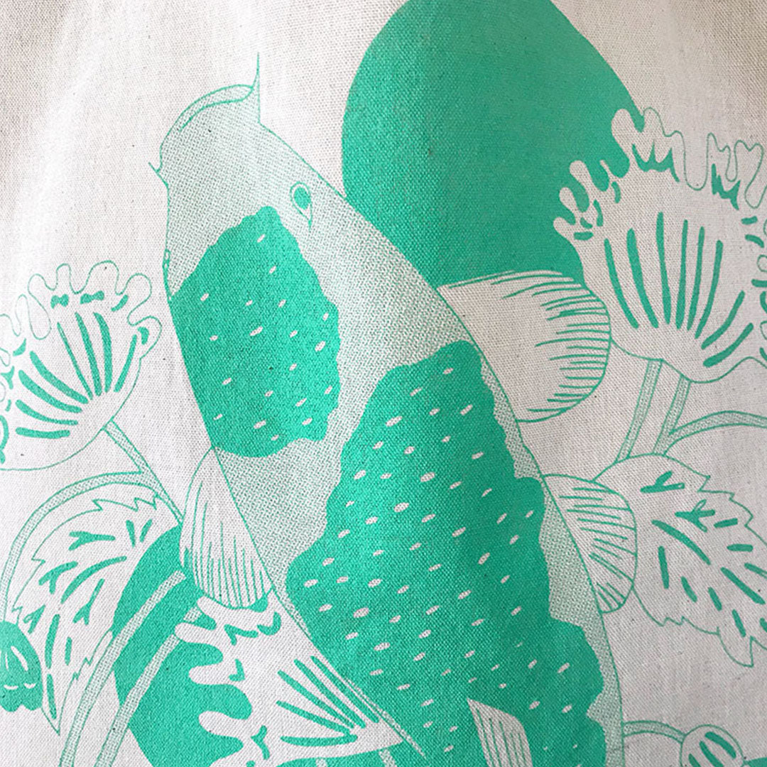 Tote A3 size - Japanese Koi Fish (Neon Green)