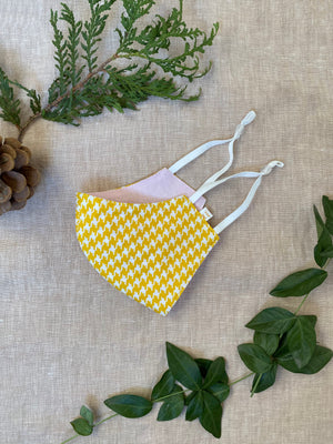 Yellow Houndstooth Face Mask