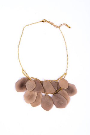 Ethically made stone treasure necklace made with adjustable brass chain and lobster clasp