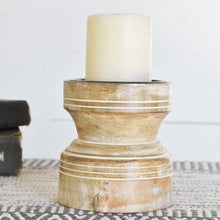 Load image into Gallery viewer, White Wash Wood Candle Holder