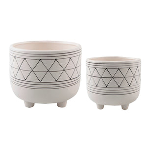 White Geo Planter With Legs