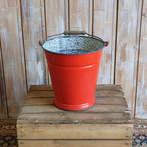 Red Enamel Bucket