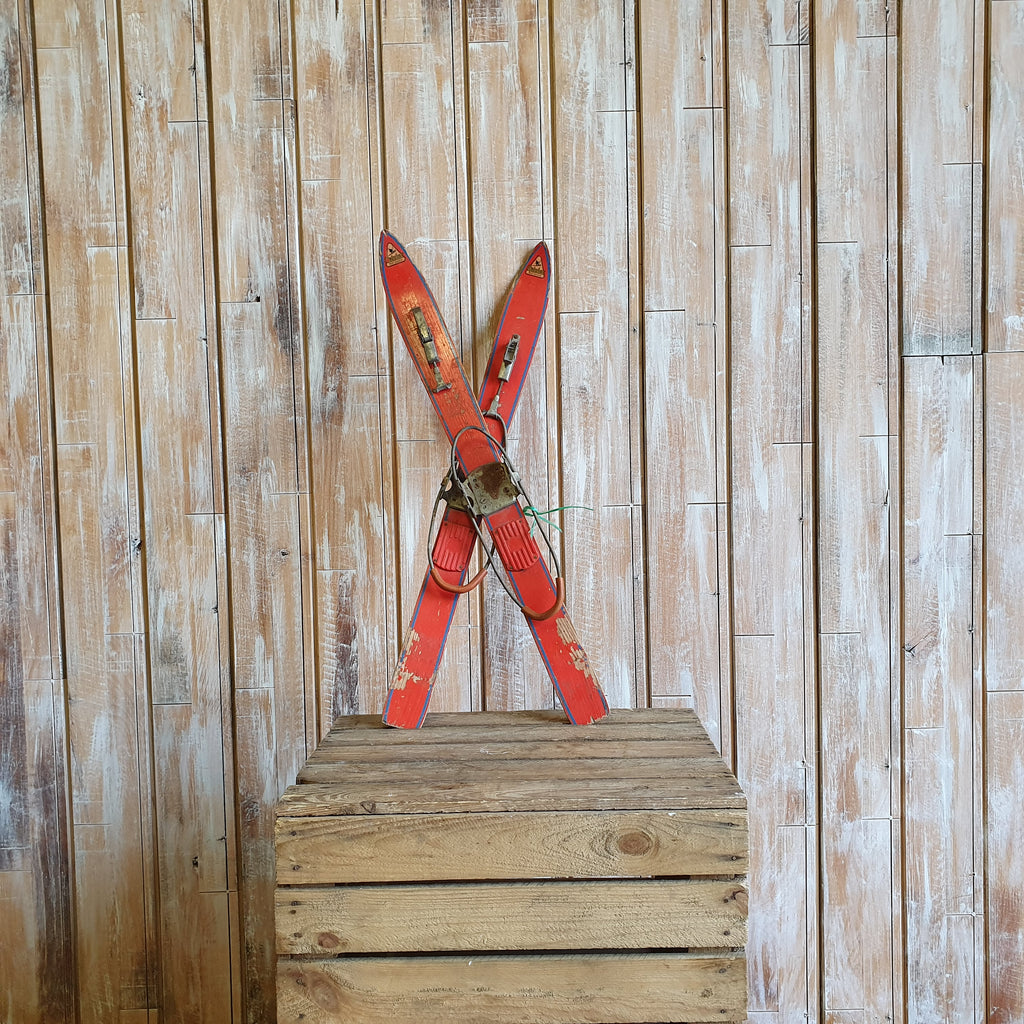 Small Red Vintage Skis