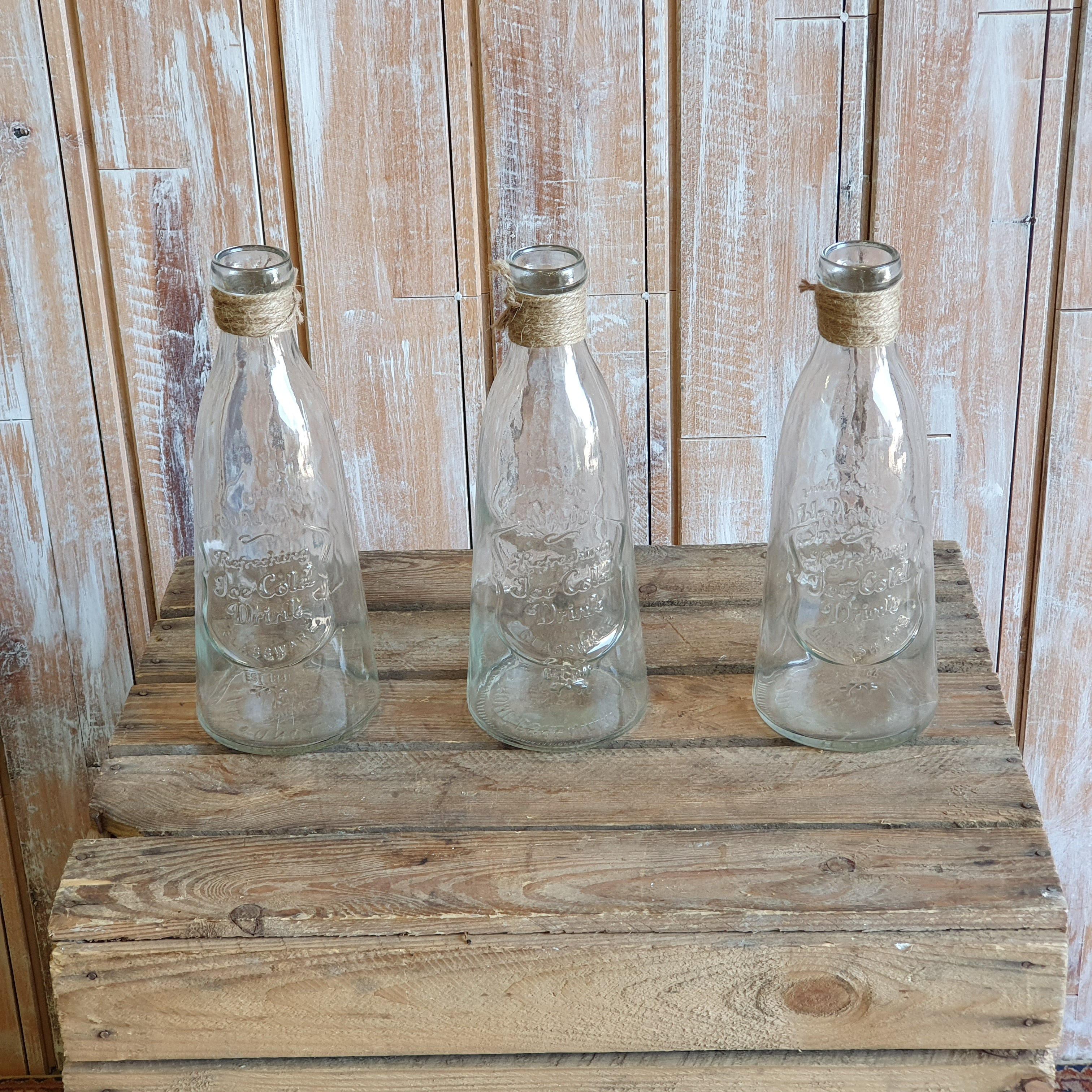 Large Glass 'Ice cool drink' Flower Bottle
