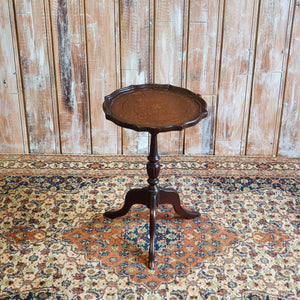 Vintage Brown Leather Top Table