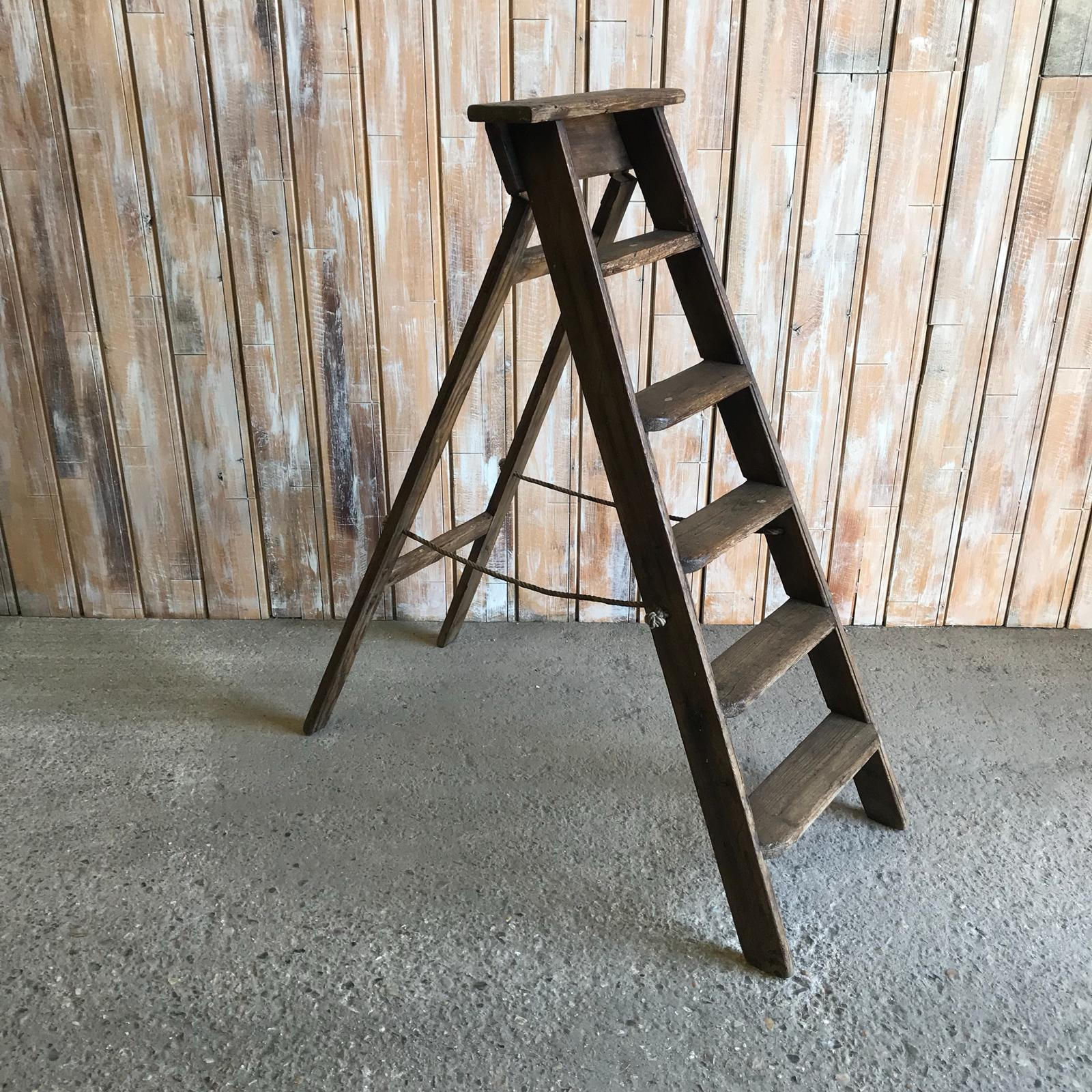 Small Vintage Dark Brown Ladder