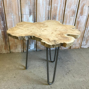 Short Light Oak Hairpin Leg Table