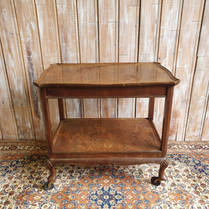 Walnut Veneer Wooden Trolley