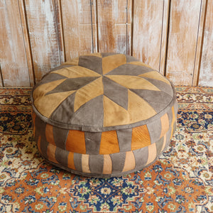 Grey and Orange Pouffe
