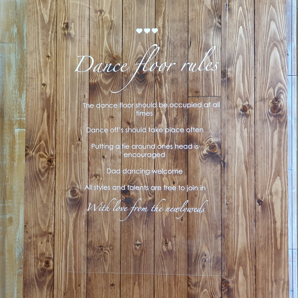 Dance Floor Rules Stand and Sign