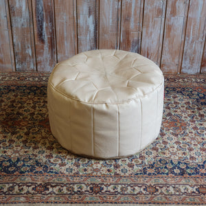 Leather Cream Pouffe
