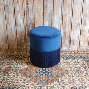 LUNA: Contemporary  Blue Tassel Stool