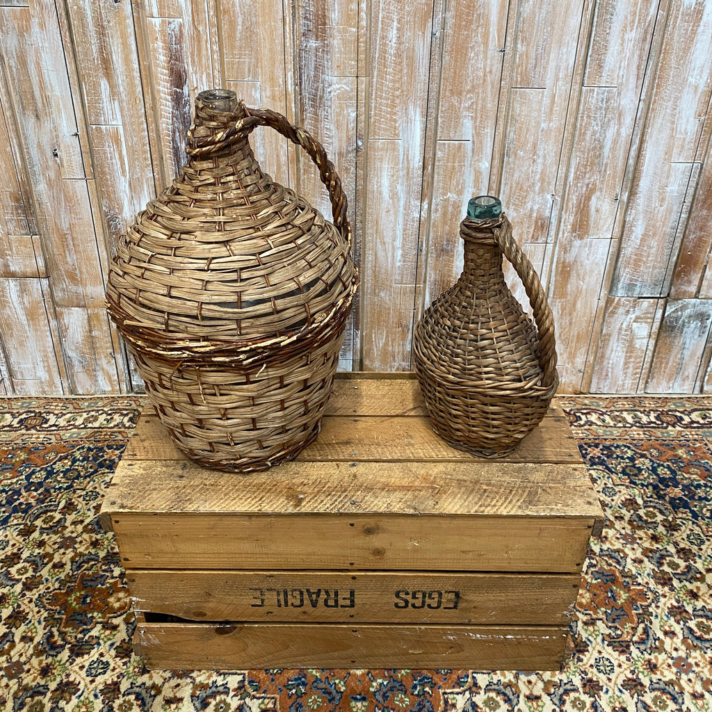 Wicker Vintage Bottles