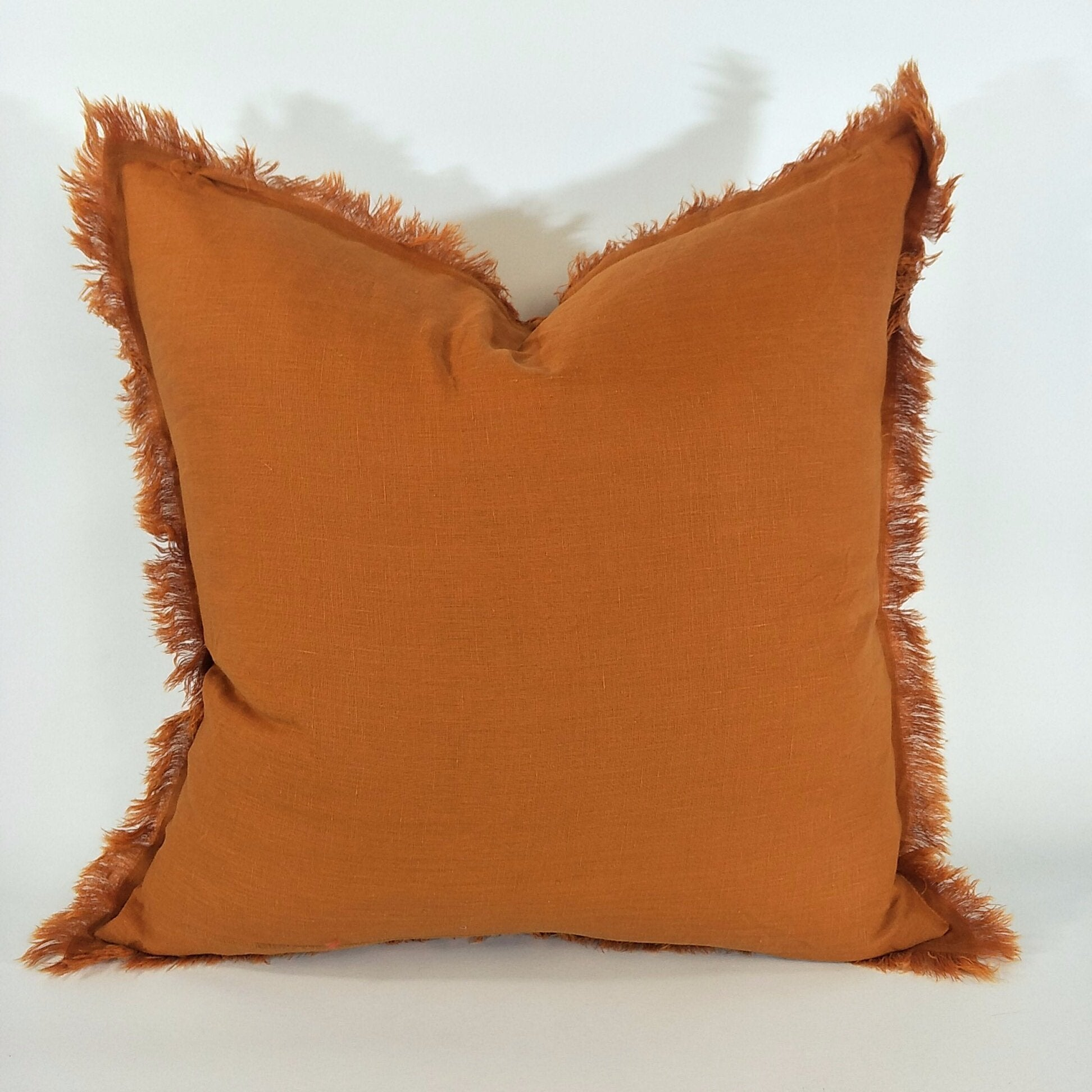 Cushion 100% French Linen Fringed Feather Inserts Turmeric 50 x 50cm