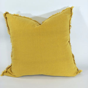 Cushion 100% French Linen Fringed Feather Inserts Mustard 50 x 50cm