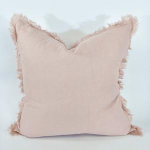 Cushion 100% French Linen Feather Inserts Light Pink 50 x 50cm