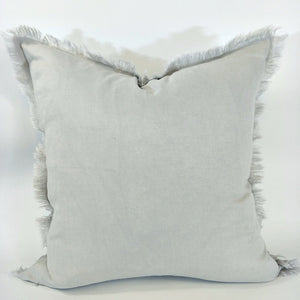 Cushion 100% French Linen Fringed Feather Inserts Light Grey 50 x 50cm
