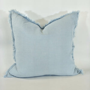 Cushion 100% French Linen Fringed Feather Inserts Ice Blue 50 x 50cm