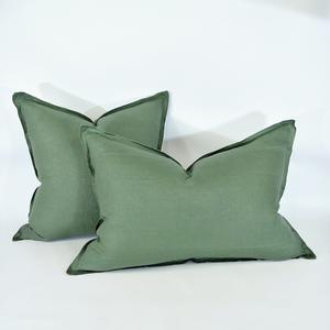 Cushion French Linen Heavy Feather Filled Sage Green in 2 Sizes