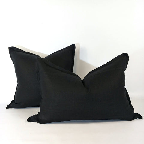 Cushion French Linen Heavy Feather Filled Black in 2 Sizes