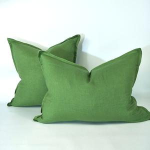 Cushion French Linen Heavy Feather Filled Olive Green  in 2 Sizes