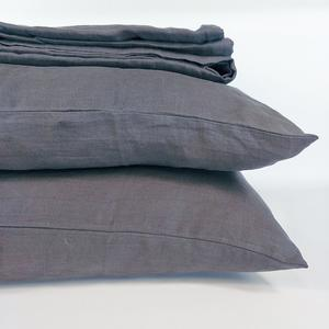 Bed Linen Pure French Linen Quilt Cover + 2 Pillowcases Set Charcoal