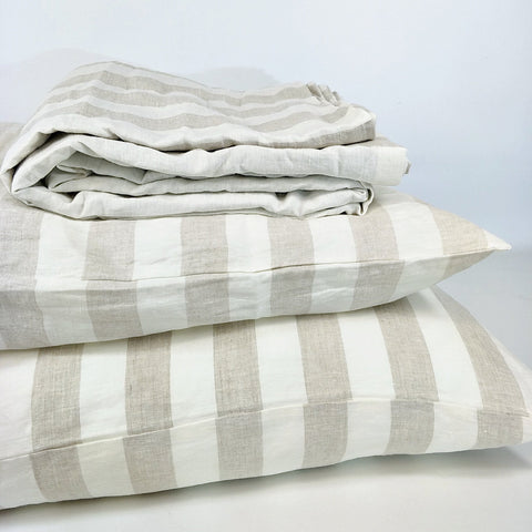 Bed Linen Pure French Linen Quilt Cover + 2 Pillow Cases Natural Stripe