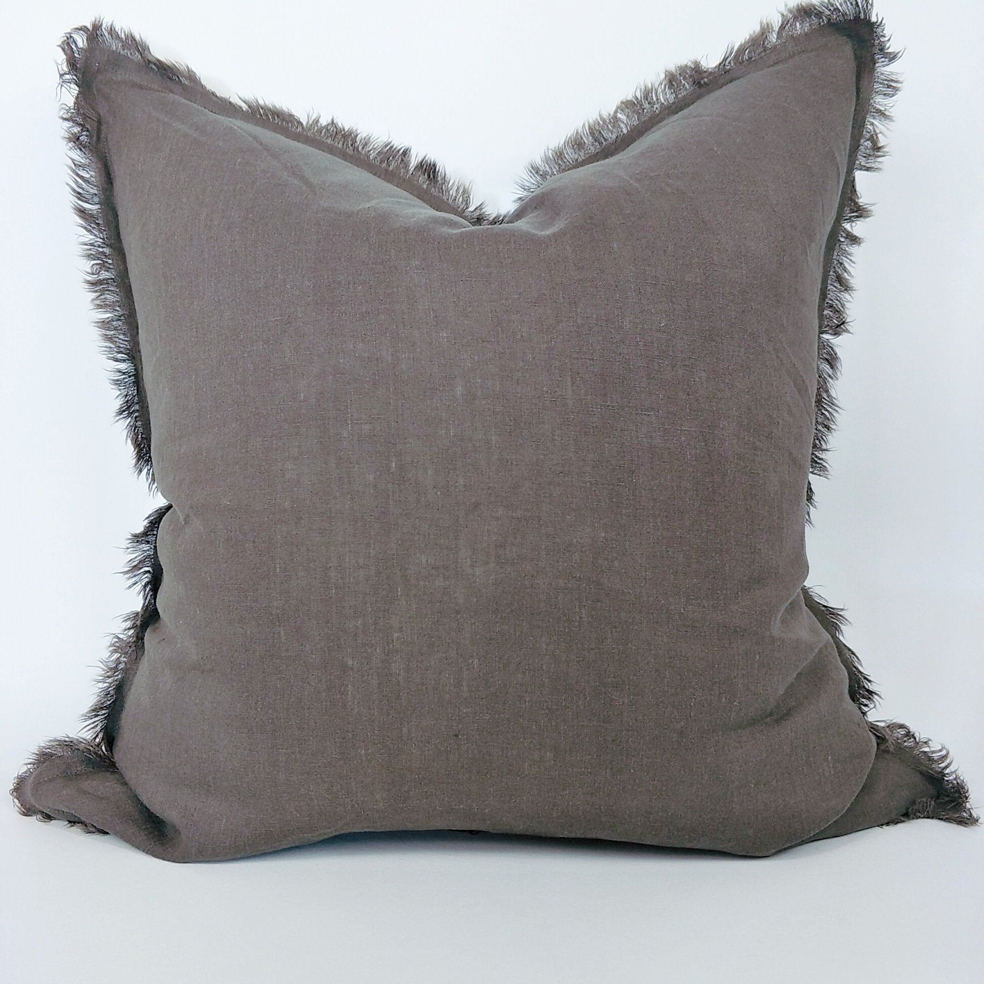 Cushion 100% French Linen Fringed Feather Inserts Mocha 50 x 50cm