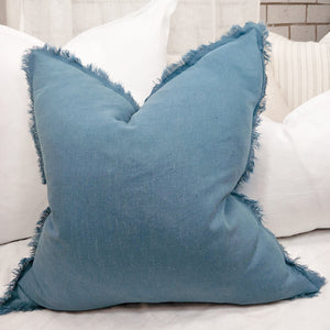 Cushion 100% French Linen Fringed Feather Inserts Sapphire 50 x 50cm