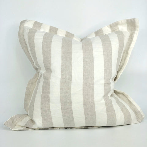 Cushion Pure French Linen Yard Dyed Striped 50cm x 50cm - Feather Filled