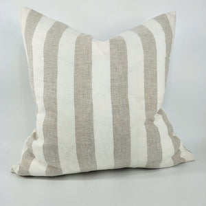 Cushion French Linen Yard Dyed Striped plain Edge 50cm x 50cm - Feather filled.